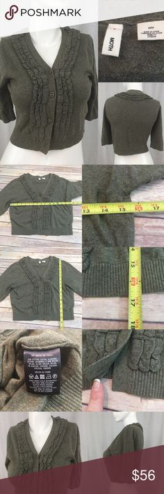 🌾Size Medium Anthro Moth Cropped Sweater Cardigan Measurements are in photos. Normal wash wear, bottom button is missing, no other flaws. D1  I do not comment to my buyers after purchases, do to their privacy. If you would like any reassurance after your purchase that I did receive your order, please feel free to comment on the listing and I will promptly respond. I ship everyday and I always package safely. Thanks! Anthropologie Sweaters Cardigans