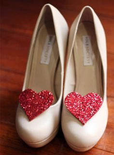 How to make Glitter Heart Shoe Clips! Love this idea with black. Also like the idea of being able to move them between shoes.