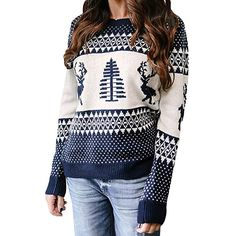 4b10ed259a Perman Clearance Women Christmas Clothing Printing Casual Knitting Sweater  Long Sleeve O-Neck Pullover Blouse