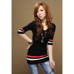 Slimming Striped 3/4 Sleeve Women's V-Neck Sweater (BLACK,ONE SIZE) | Everbuying.com