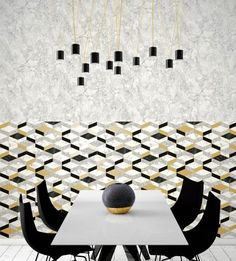 Metallic gold tones warm up modern wallpaper and add a touch of luxury to easily elevate any space. Gold Wallpaper, Modern Wallpaper, Golden Life, Gold Pattern, Four Seasons, Kids Rugs, Wall Art, Metallic Gold, Warm