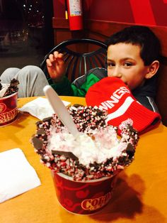 Me and my lil mans having ice cream.