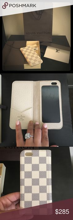 Beautiful Damier Azur Louis Vuitton iPhone 6 case Perfect condition Louis Vuitton IPhone 6 case. This is authentic and was purchased in Portland, Or. It has been gently used, but there is no wear or patina. Louis Vuitton Bags Wallets