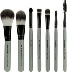 Brochas serie Platinum Blush Professional:  7 brochas de maquillaje tamaño viaje con manta negra de tela. Brochas con pelo sintético para polvos, maquillaje, sombras, cejas y labios. Tamaño pequeño tipo viaje de 13cm.