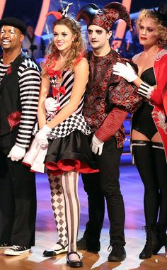 """4. Group Dance from The Definitive Ranking of Sadie Robertson's DWTS Looks  Confession: we totally want to steal this look for Halloween. Most. Adorable. Court. Jester. Ever. And guess what? Sadie's father didn't approve this dress: Mark Ballas did! """"We wanted to create, for each character, something memorable from the circus,"""" he told E! News. """"She was like a female version of the jester and I think this is really appropriate and cute."""""""