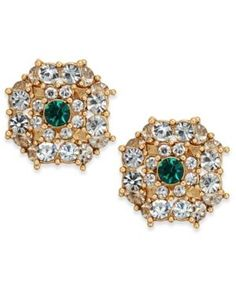 Charter Club Gold-Tone Crystal & Green Stone Button Earrings, Created for Macy's - Gold