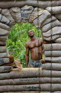 Earth bag building at John Obey beach, Sierra Leone