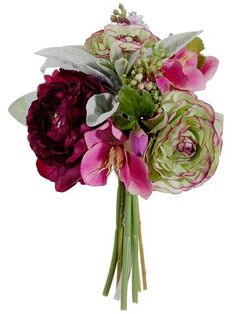 Faux Ranunculus Mixed Bouquet in Plum Purple Green - 9in. Tall