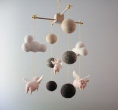Needle Felted Flying Pink Pot Bellied Pig Nursery by MerleyBird