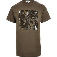 Bedrucktes T-Shirt in Khaki