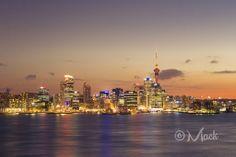 Auckland City after sunset