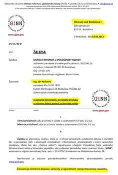 Zaloba GINN proti Ján Počiatek, 1. strana