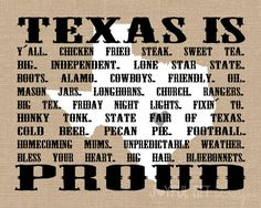 Texas Words PRINTABLE. List of Words that describe Texas on Burlap Background. Hey Y'all. State of Texas sign. Wall Art DIGITAL file. $8.00