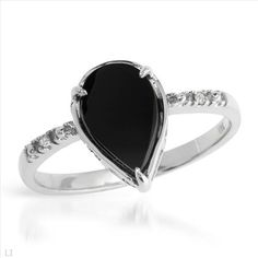 Pleasant Brand New Ring With Precious Stones - Genuine  Diamonds and Onyx Beautifully Designed in 14K White Gold- Size 7 We Can Resize from 5.5 to 8.5 - Certificate Available.