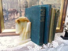 Polished Onyx HORSE Head Bookend- Marbled Onyx Book End- Vintage Office-Library Decor- Chess Knight- Polished Hand Carved Stone by OrphanedTreasure on Etsy