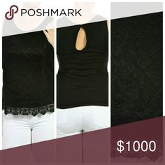 "LABOR DAY SALE--HOST PICK Lace Tank Top Plus Lace Solid Tank Top With Keyhole   100% Polyester   Made in USA  XL  Bust: 34""  Length: 26""  2XL   Bust: 36""  Length: 26""  3XL  Bust: 38"" Length: 26""  Buy a size up and top does stretch! Tops"