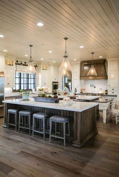 Today on the blog were sharing 12 of the top farmhouse kitchen design ideas + style inspiration for farmhouse kitchen cabinets, sinks, kitchen islands, flooring + more #rustickitchen #rusticdecor #rustic