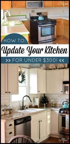 Kitchen makeover on a budget! Transform your kitchen with Giani Granite Countertop Paint. DIY. Kitchen before and after. http://www.gianigranite.com by Mgauna