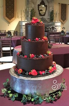 Ganache Wedding Cake by Sweet Scene Cakes - http://cakesdecor.com/cakes/259382-ganache-wedding-cake
