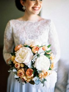 white peony and peachy garden rose bouquet with dusty miller