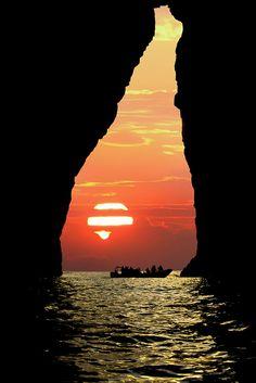 Sunset silhouette, Hvalba, Suðuroy, Faroe Islands, Denmark