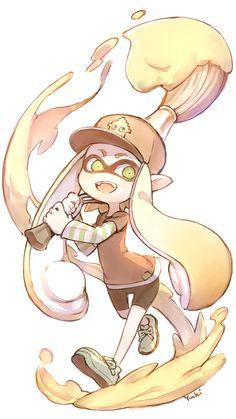 I need that brush in the actual game! Splatoon 2 Art, Splatoon Comics, Pokemon, Chibi, Character Art, Character Design, Image Originale, Kawaii, Video Game Art