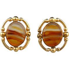 Beautiful Scottish Agate and 12K GF Earrings from raretreasures on Ruby Lane
