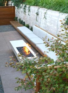 Bench seating against wall
