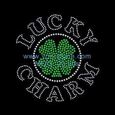 New Fashion Lucky Charm Hotfix Motif, Irish Shamrock Rhinestone Transfer