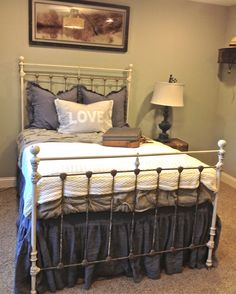 SALE Vintage Antique Full Size Wrought Iron Bed Brass & Tea Stain Finish Free Shipping on Etsy, $798.00