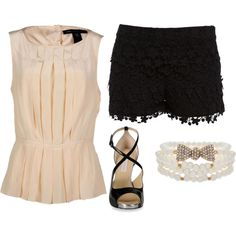 Work outfit - black lace shorts ----seriously? Where does this chick work? Black lace shorts? Cocktail waitress? find more women fashion ideas on www.misspool.com