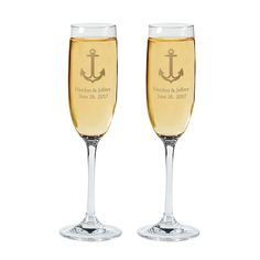 Personalized Nautical Wedding Flutes - OrientalTrading.com