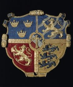 A Swedish riksvapen with Coat of arms of the Vasa family crest, embroidered at the coronation in 1561 at the request of Eric XIV. Swedish Army, Family Crest, Crests, Coat Of Arms, 16th Century, Middle Ages, Badge, Namaste, Royalty