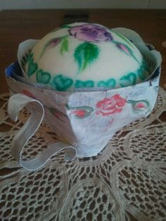 hand painted paper teacup with hand painted cupcake by julie shaw