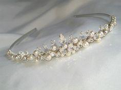 Handmade swarovski crystals ivory white  pearl & clear diamante wedding tiara