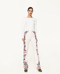 a688bcfe400 ZARA - WOMAN - SIDE PRINTED FLARED TROUSERS Zara Trousers