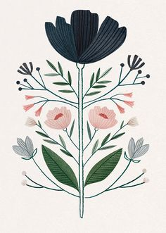 Clare Owen flower illustration, art | Blumen Illustration Print