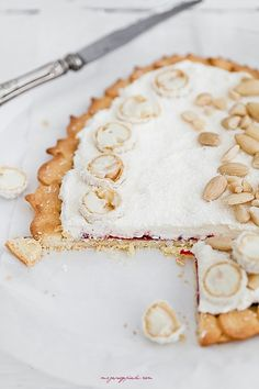 coconut shortbread with raspberry jam, mascarpone cream & raffaello pralines