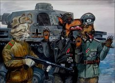 Surrender of a Tiger tank. The SS Doberman and Wehrmacht German Shepherd make it