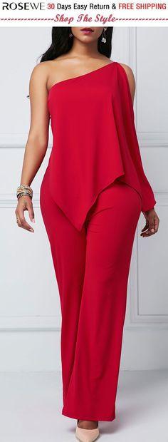 Overlay Embellished One Shoulder Zipper Back Jumpsuit. Overlay Embellished One Shoulder Zipper Back Jumpsuit. Sexy Outfits, Dress Outfits, Fashion Dresses, Casual Outfits, Cute Outfits, Embellished Jumpsuit, Frack, Overall, Classy Dress