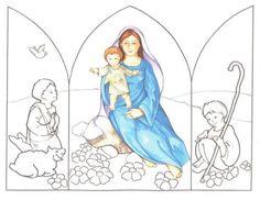 triptico virgen con niño