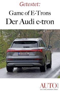 Der Audi e-tron ist das erste, reinelektrische Fahrzeug von Audi. Unseren Test zum Audi e-tron lesen Sie im neuen AUTO-aktuell. Audi, Sport, Motor, Winter Tyres, Vehicles, Word Reading, Rings, Deporte, Sports