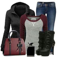 Jeans, long sleve, black jacket.