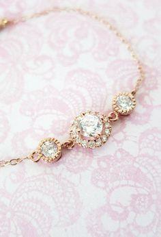 Rose Gold Cubic Zirconia Bracelet - Rose Gold Filled Chain, Pink Gold wedding bridal bride bridesmaid best friend sister friendship bracelet