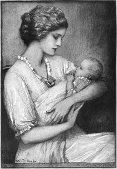 """""""Mother And The Baby"""" From a drawing by W. T. Benda."""