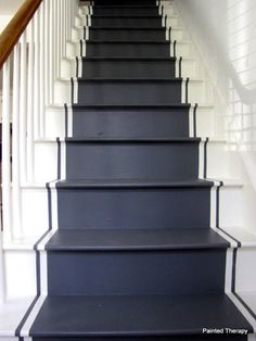 Step up your decor with a beautiful staircase makeover! Check out these swoonworthy staircase makeover ideas featuring stenciled and painted staircases. Up House, House Stairs, Carpet Stairs, Entryway Stairs, Wall Carpet, Painted Floorboards, Grey Floorboards, Black Stairs, Black Painted Stairs