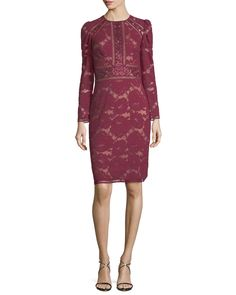 Burgundy lace dress with long sleeves