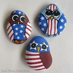 Owl American and ready for July 4th painted rocks