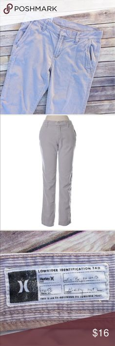 Hurley Corduroy pants size 5! Hurley Corduroy ex boyfriend pants gray cream. Size 5. Relaxed straight leg style. Excellent condition. Check out my closet and bundle to save more! Hurley Pants Straight Leg