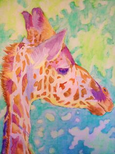 Saint Louis Zoo Giraffe Print Bold Colorful by PaintMyWorldRainbow